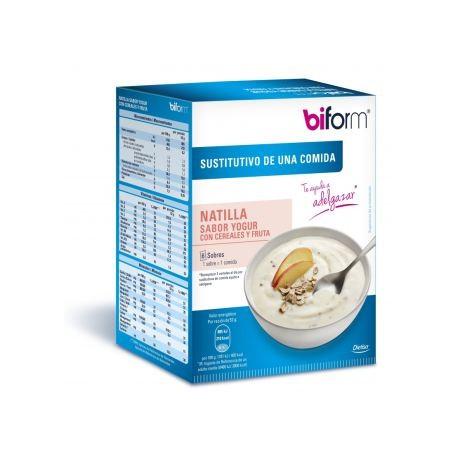 Natillas Sustitutivas Sabor Yogur Con Cereales Y Frutas - 6 Sobres (Biform)