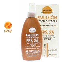 Emulsión Fotoprotectora en Spray con Agua de Manantial SPF 25 - 200ml (D'Shila)