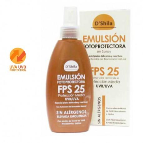 Emulsión en spray fotoprotectora con Agua de Manantial SPF 25 - 200ml (D'Shila)