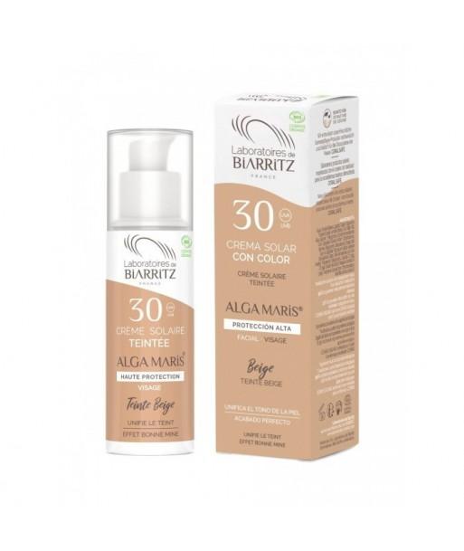 Crema solar natural facial color Beige factor 30 - 50ml (Alga Maris. Biarritz)