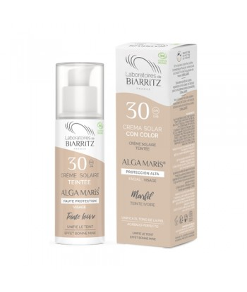 Crema solar natural facial color Marfil, factor 30, 50 ml (Alga Maris. Biarritz)