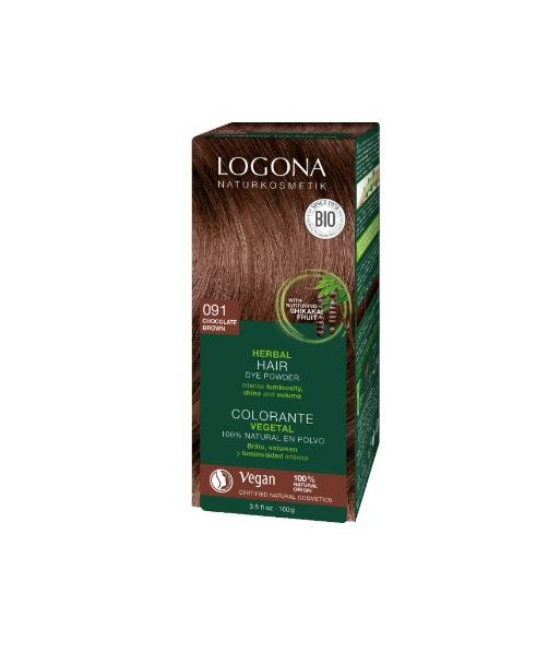 Colorante capilar vegetal castaño oscuro nº 090 de 100gr (Logona)