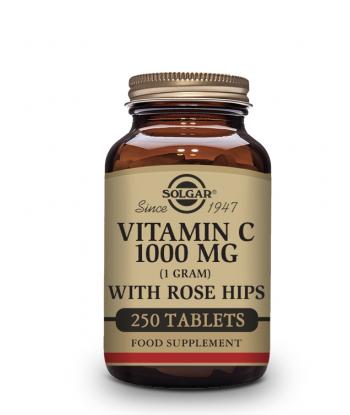 Vitamina C  con escaramujo Rosa Hips 1000mg, 250 comprimidos (Solgar)
